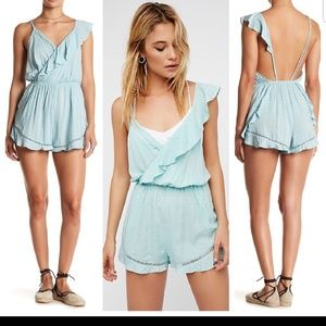 Free People one of these days blue romper. Size M